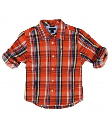 Tommy Orange Plaid Boys Shirt