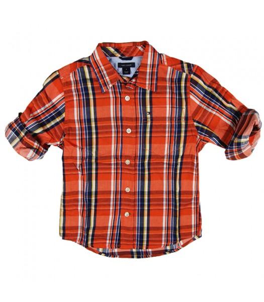 Tommy Orange Plaid Boys Shirt