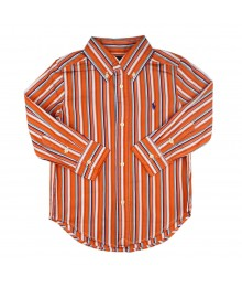 Polo Orange Multi Stripped Long Sleve Shirt Little Boy
