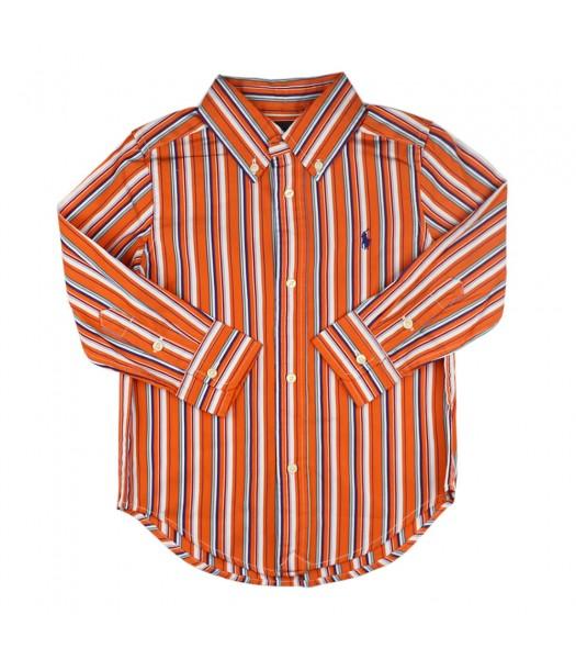 Polo Orange Multi Stripped Long Sleve Shirt