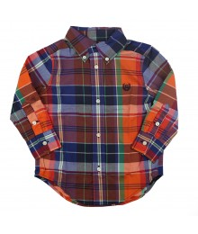 Chaps Multi Orange Plaid Button Down Long Sleeve Shirt Little Boy