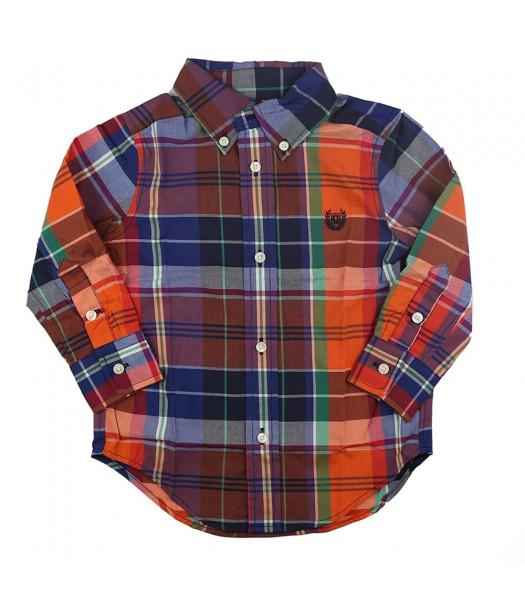 Chaps Multi Orange Plaid Button Down Long Sleeve Shirt