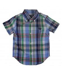 Chaps Light Blue/Green Multi Plaid Shirt