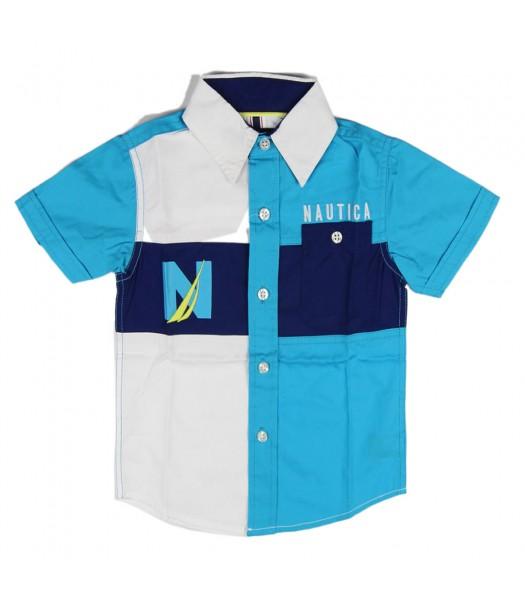 Nautica Blue And White Colour Block Button Down Shirt