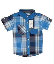 Sean John Swedish Blue Plaid Short Sleeve Shirt