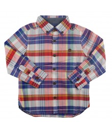 Ted Baker Red Multi Long-Sleeve Plaid Boys Shirt