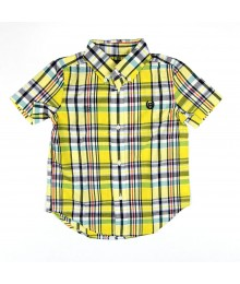 Chaps Multi Yellow Plaid Button Down Short Sleeve Shirt