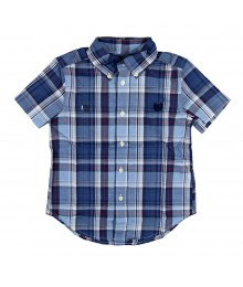 Chaps Summer Blue Plaid Short Sleeve Shirt