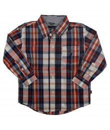 Nautica Navy/Orange/White Multi Plaid L/Sleeve Shirt  Little Boy