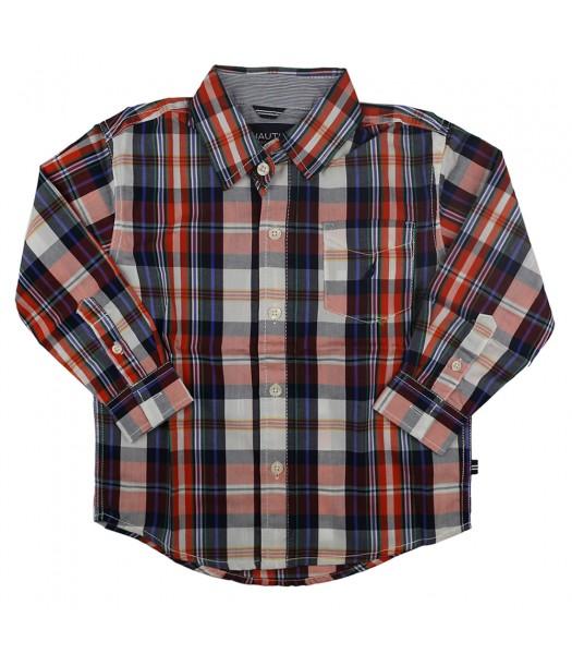 Nautica Navy/Orange/White Multi Plaid L/Sleeve Shirt