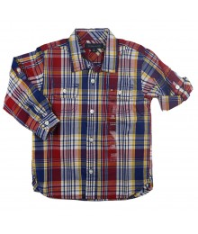 Tommy Hilfiger Red/Navy Multi Plaid L/Sleeve Shirt  Little Boy