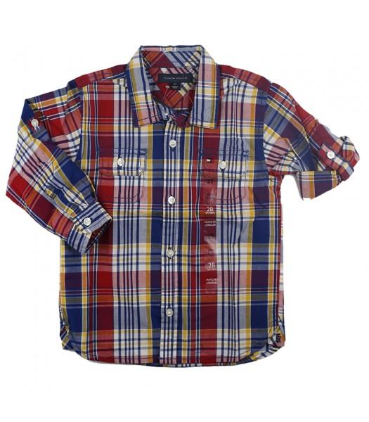 Tommy Hilfiger Red/Navy Multi Plaid L/Sleeve Shirt