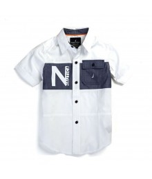Nautica White Cotton Shirts Wt Chambray Across Chest