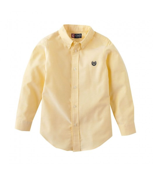 Chaps Yellow Solid Oxford L/S Shirt