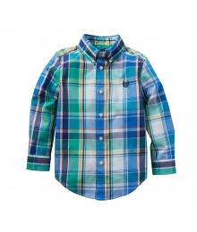 Chaps Green/Blue/Yellow Multi Plaid L/S Shirt