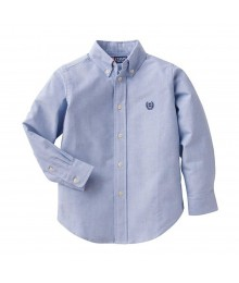 Chaps Blue Solid Oxford L/S Shirt Big Boy