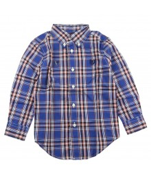 Chaps Blue Plaid L/S Shirt Wt Orange Stripped