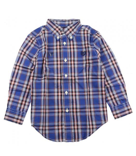Chaps Blue Plaid L/S Shirt Wt Orange Stripped