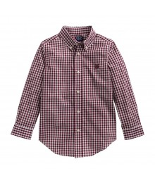 Chaps Wine/Burgundy  Checkered L/S Shirt