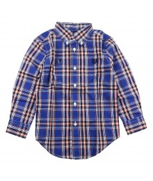 Chaps Blue/Orange/Navy Plaid L/S Shirt Little Boy