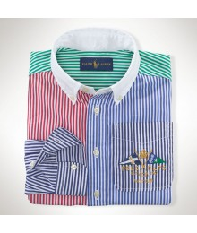 Polo Multi Colored Stripped Red/Blue/Green L/S Shirt Wt Big Pony
