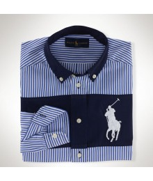 Polo Navy Stripped Color Block L/S Wt Big Pony