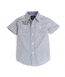 Nautica Blue Stripped S/Sleeve Boys Shirt