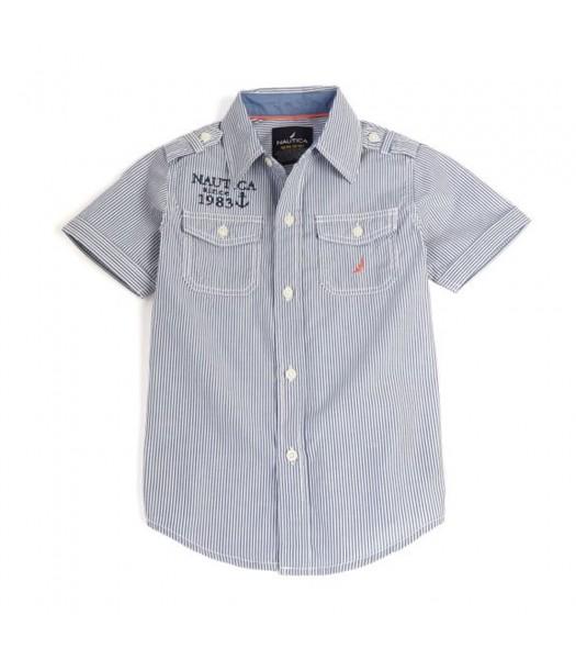 Nautica Blue Stripped S/Sleeve Boys Shirt