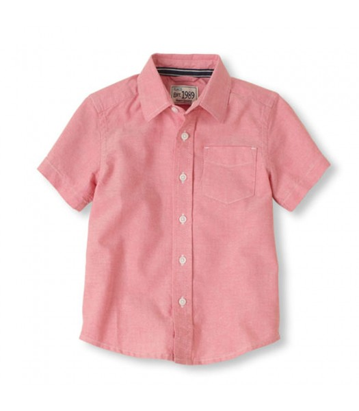 Childrens Place Pink Oxford Boys S/S Shirt