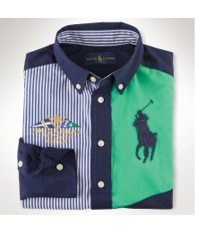Polo Multi Stripped Color Block Green/Navy L/S Shirt Wt Big Pony