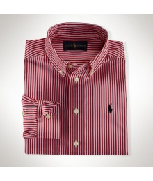 Polo Pink Stripped Cotton Boys L/S Shirt
