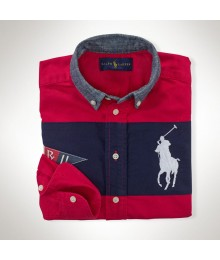 Polo Red/Navy Color Block Wt Chambray Collar