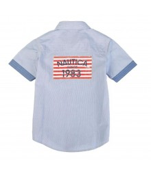 "Nautica Navy Boys S/S Shirt Wt ""Nautica Since 1983 Flag Behind Little Boy"