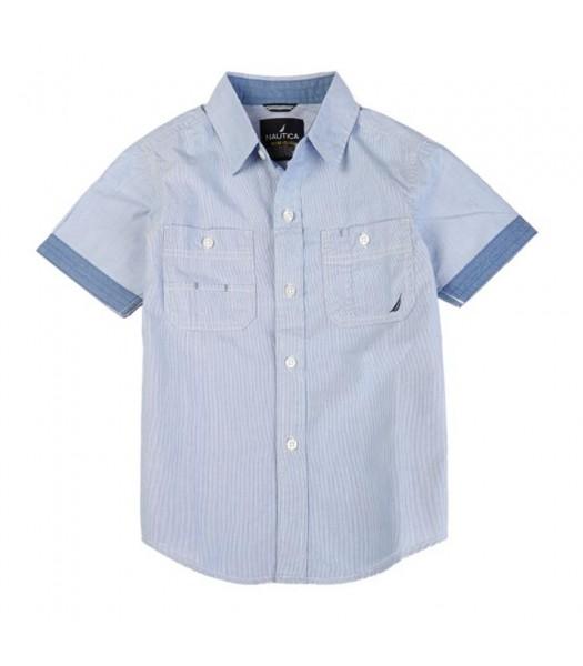 "Nautica Navy Boys S/S Shirt Wt ""Nautica Since 1983 Flag Behind"