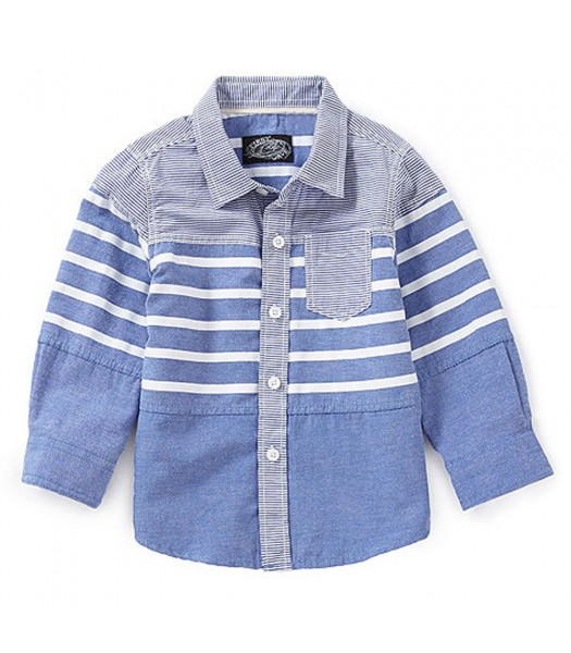 First Wave Blue/White Striped L/S Shirt