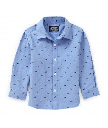 First Wave Blue Boys L/S Shirt Wt Red Fox Print