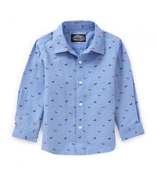 First Wave Blue Boys L/S Shirt Wt Red Fox Print