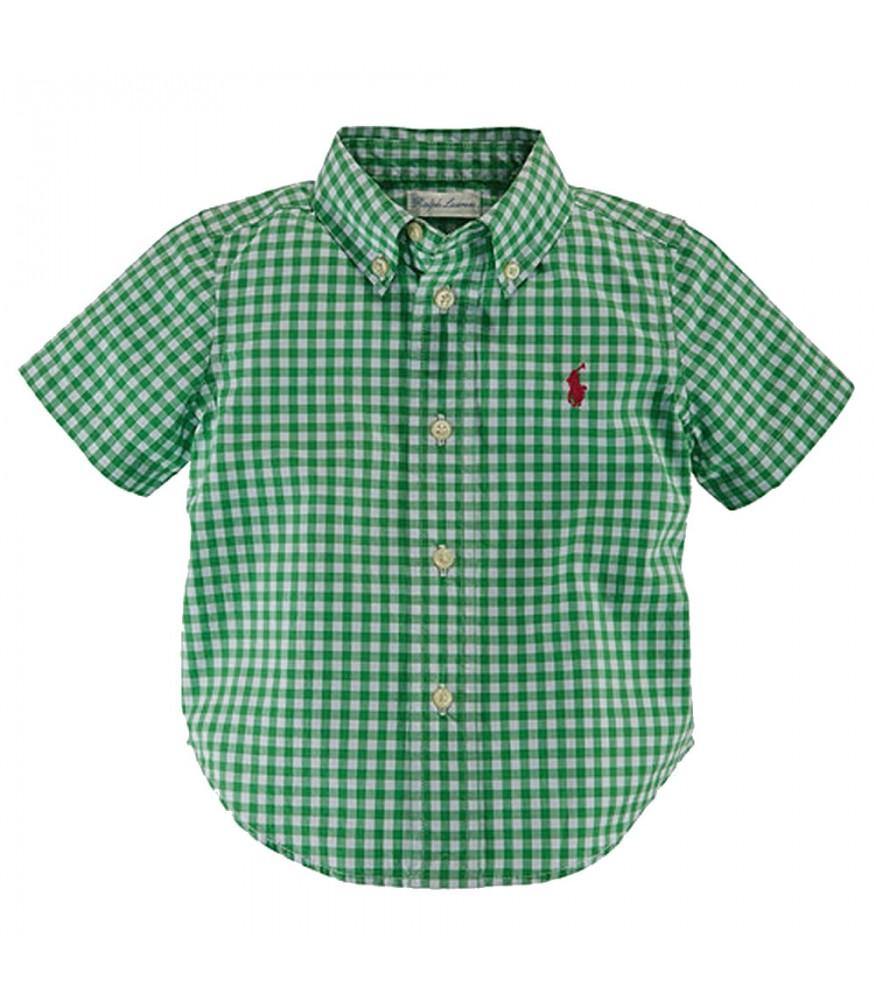 caec33466 Ralph Lauren Green White Checkered S S Shirt