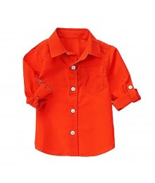 Crazy8 Orange Linen L/S Shirt Baby Boy