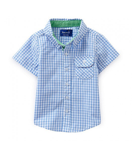 Beetle&Thread Blue/White Checkered S/L Shirt