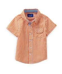 Beetle&Thread Orange/White Checkered S/L Shirt Baby Boy