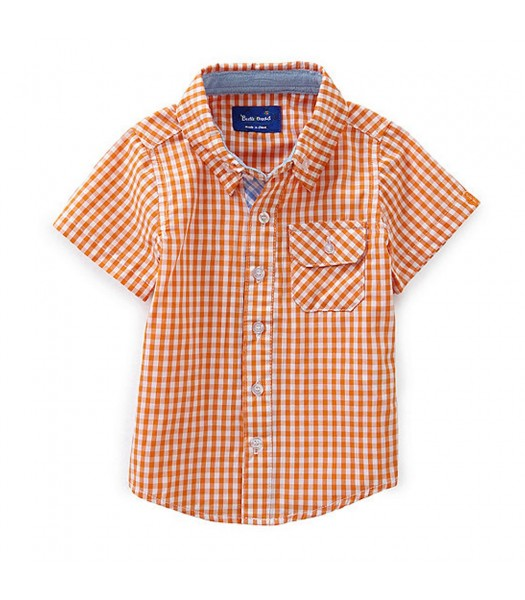 Beetle&Thread Orange/White Checkered S/L Shirt