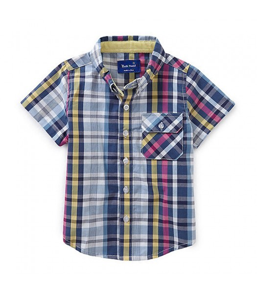 Beetle&Thread Navy Multi-Colored Plaid S/L Shirt