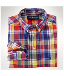 Polo Blue Plaid Cotton Shirt