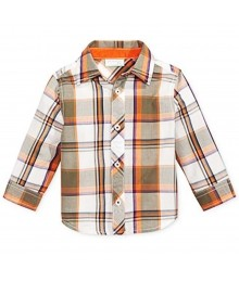 First Impressions White/Orange/Green Plaid L/Sleeve Shirt Baby Boy