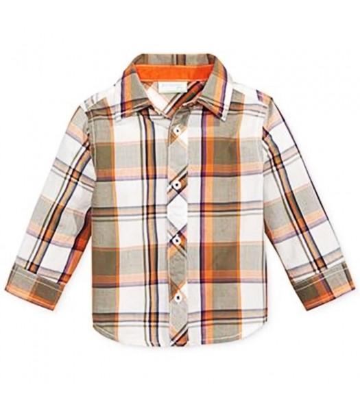 First Impressions White/Orange/Green Plaid L/Sleeve Shirt