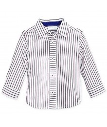First Impressions White Wt Navy/Purple Stripes L/Sleeve Shirt Baby Boy