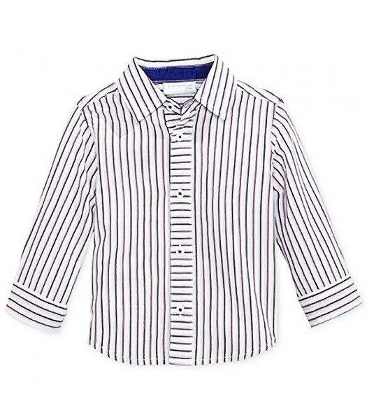 First Impressions White Wt Navy/Purple Stripes L/Sleeve Shirt