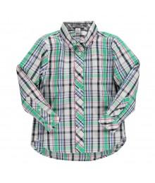 Kitestrings Blue/Green/Black/White Plaid L/Sleeve Boys Shirt