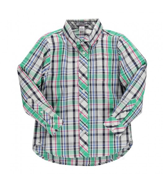 Kitestrings Blue/Green/Black/White Plaid L/Sleeve Boys Shirt